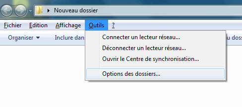 Windows 7 : Options des dossiers