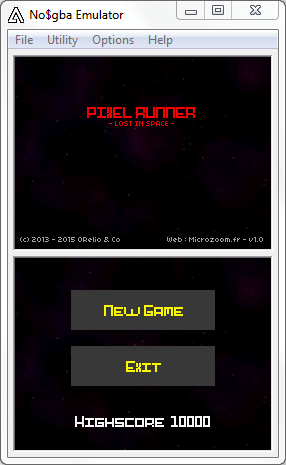 Pixel Runner DS : Menu