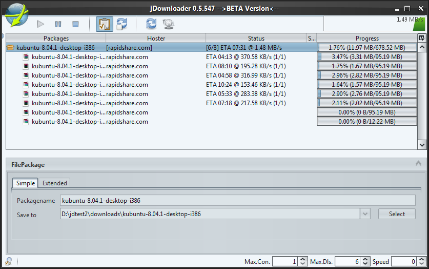Interface de JDownloader