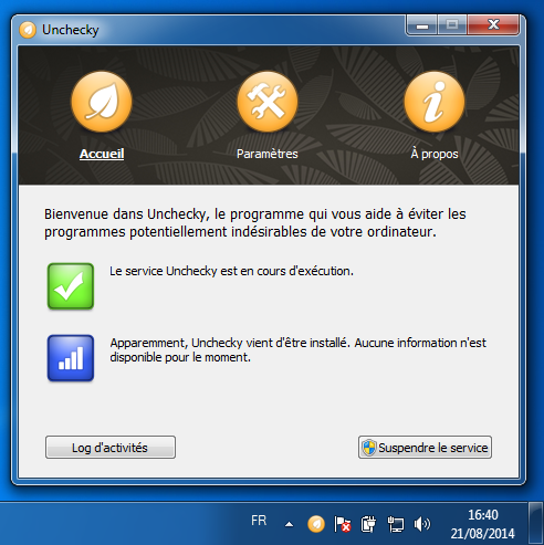 Interface de gestion d'Unchecky
